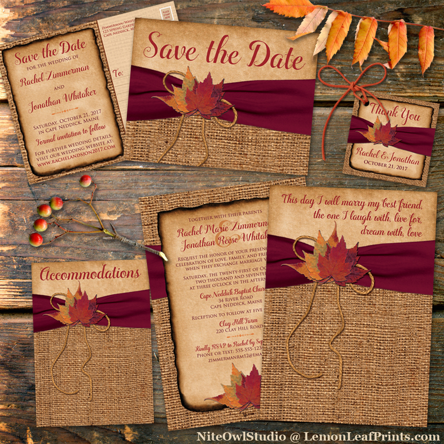 Rustic Autumn Burlap and Leaves Wedding Invitation Set