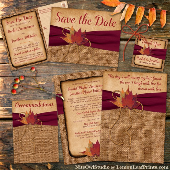 Rustic Fall Wedding Invitation Set - Burlap, Leaves and wine ribbon