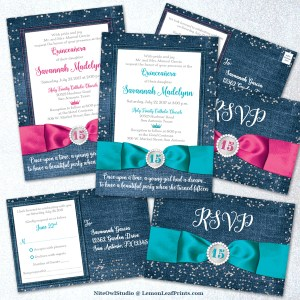 Hot pink or turquoise denim and diamonds quince invitation sets