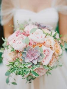 pastel succulent wedding bouquet