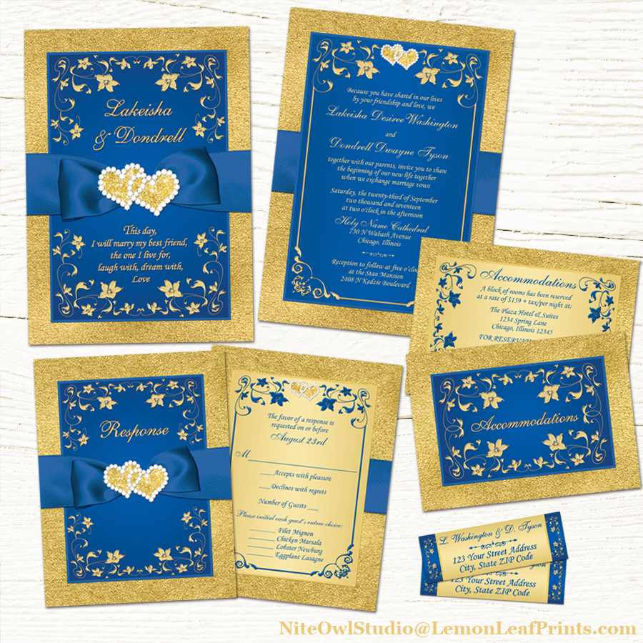 Royal blue gold joined hearts jewel floral wedding invitation suite