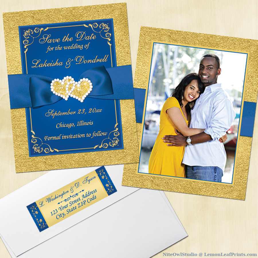 Royal blue gold joined hearts jewel photo wedding save the date card