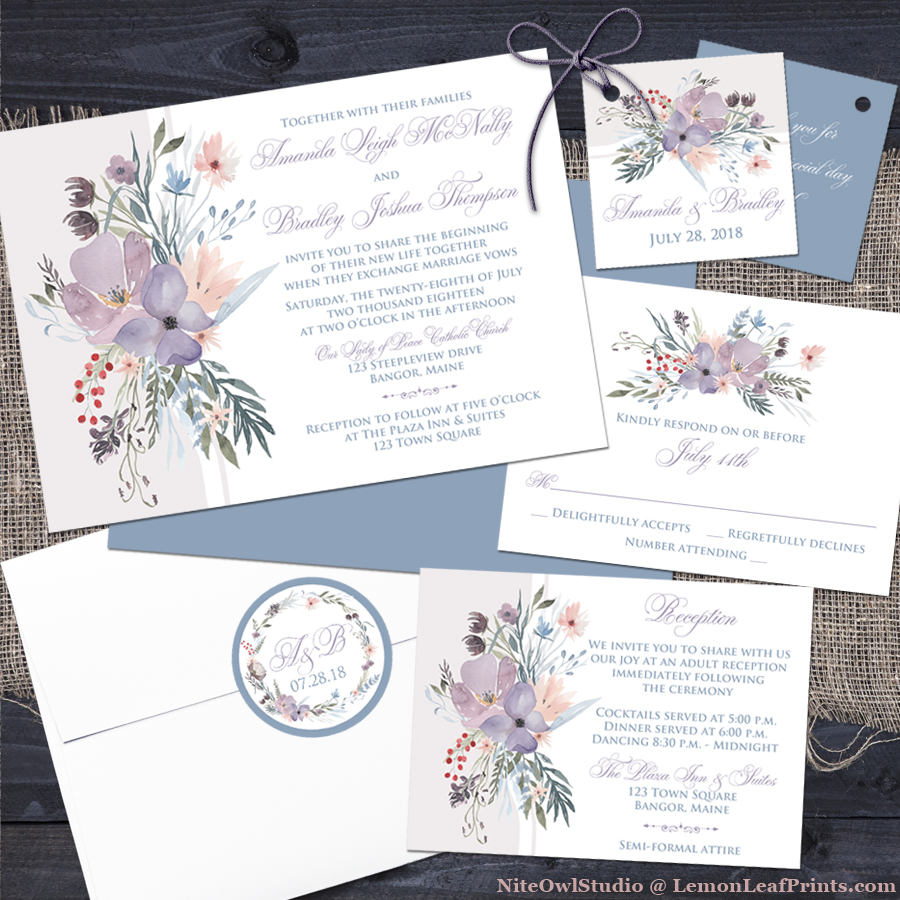Smoky blue lavender purple boho wildflowers wedding invitation set