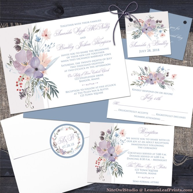 dusty blue lavender purple boho wildflowers wedding invitation set