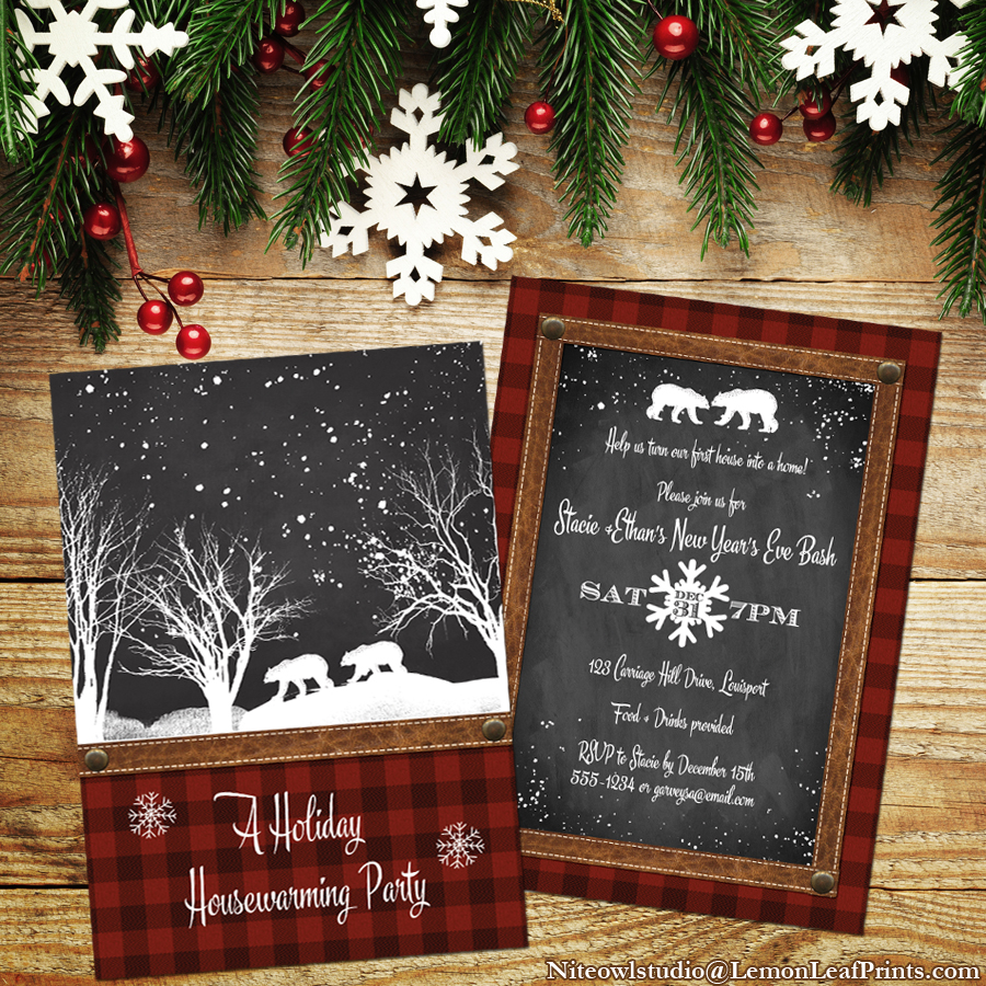 Rustic Plaid Chalkboard Holiday Housewarming Party Invitation