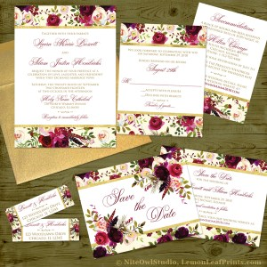 Burgundy watercolor floral feathers wedding invitation set