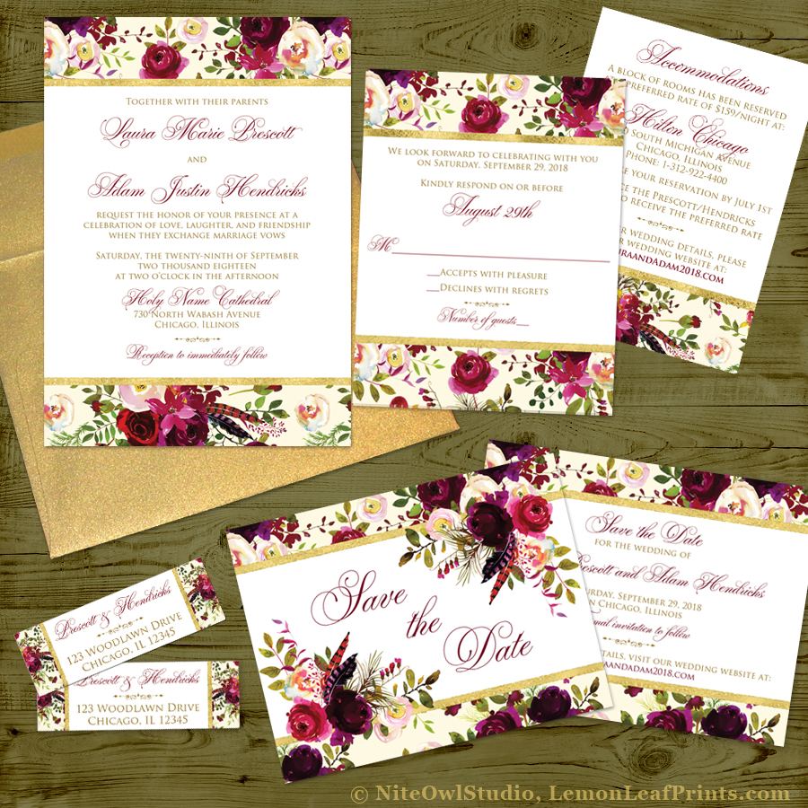 Beautiful Burgundy Florals and Feathers Wedding Stationery Suite ...