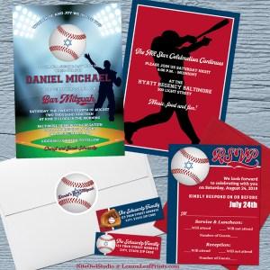 Baseball Softball Bar Mitzvah Invitation Set Version 2