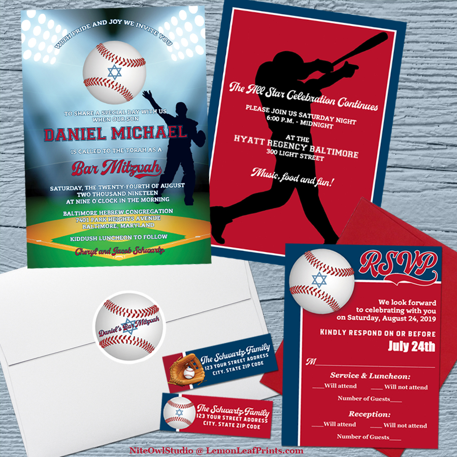 Baseball Softball Bar Mitzvah Invitation Set Version 2