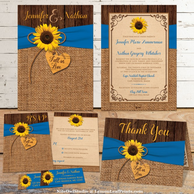 Sunflower Royal Blue Burlap Wood Wedding Invitation Set
