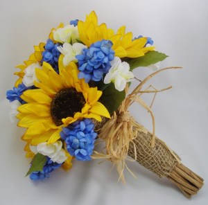 blue yellow sunflower burlap wedding bouquet