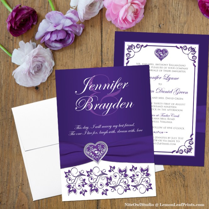 Purple and White Floral Silver Heart Wedding Invitation