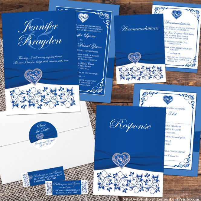 Royal Blue and White Floral Silver Heart Wedding Invitation Set