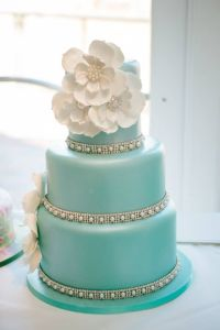 Tiffany blue white wedding cake