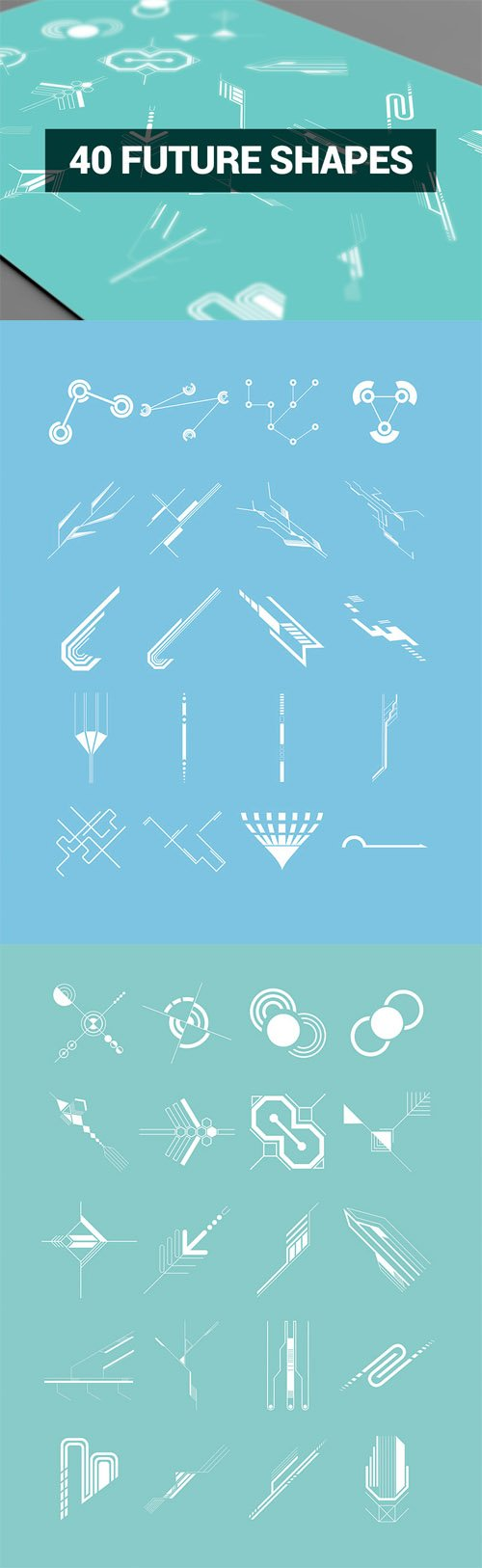 Vector Set Abstract Shapes - 40 Future Shapes