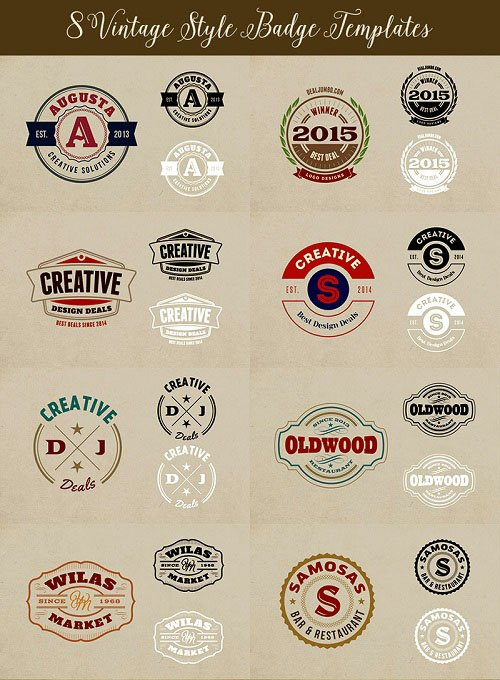 Badges Vintage Style Templates PSD