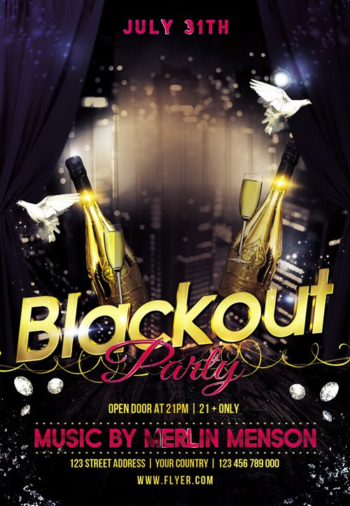 Flyer PSD Template - Blackout Party + Facebook Cover