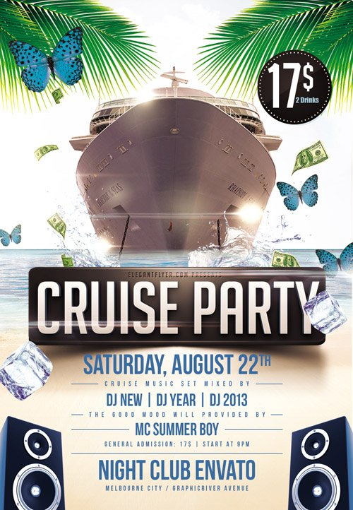 Flyer PSD Template - Cruise Party + Facebook Cover
