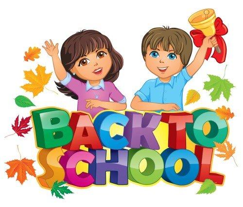 Schoolchildren in the vector, children go to school