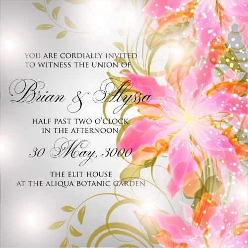 Wedding invitation or card with abstract floral background
