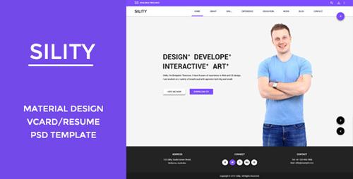 Sility - Material Design Vcard & CV PSD Template 10747563