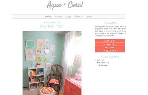 Aqua and Coral Blogger Template - CM 431724