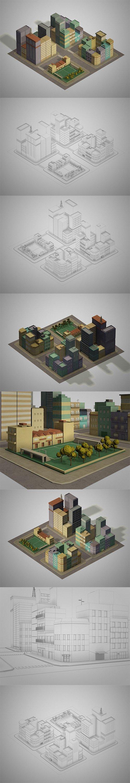 Lowpoly pack of 4 city blocks.