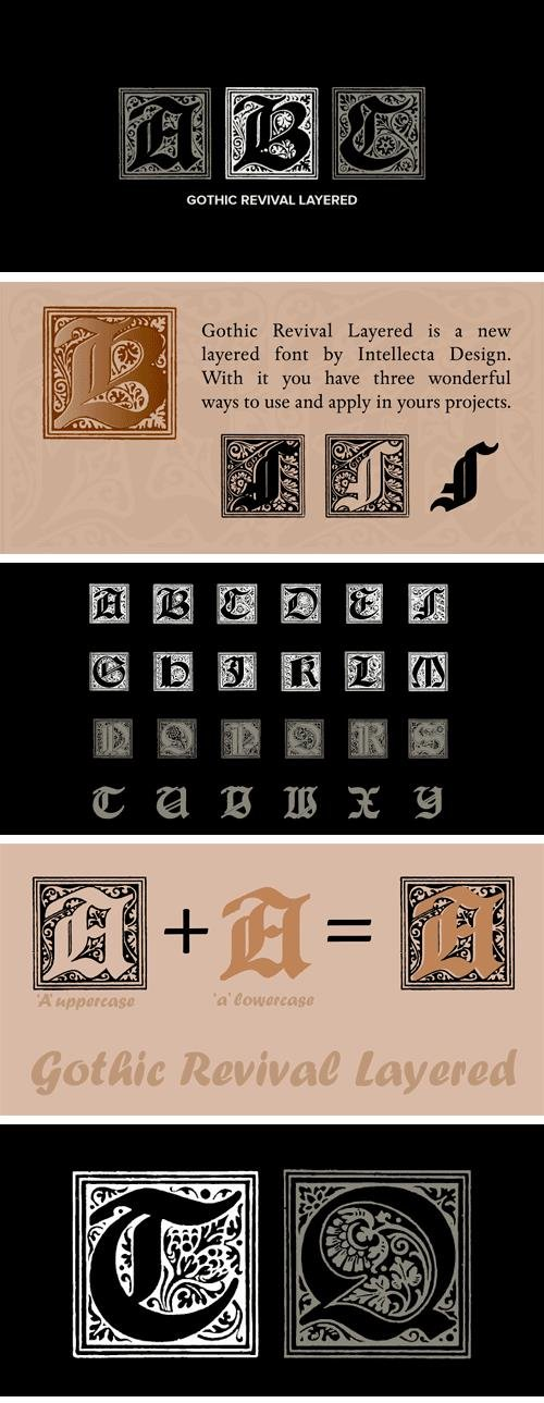 Gothic Revival Layered Font Family
