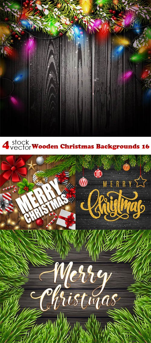 Vectors - Wooden Christmas Backgrounds 16