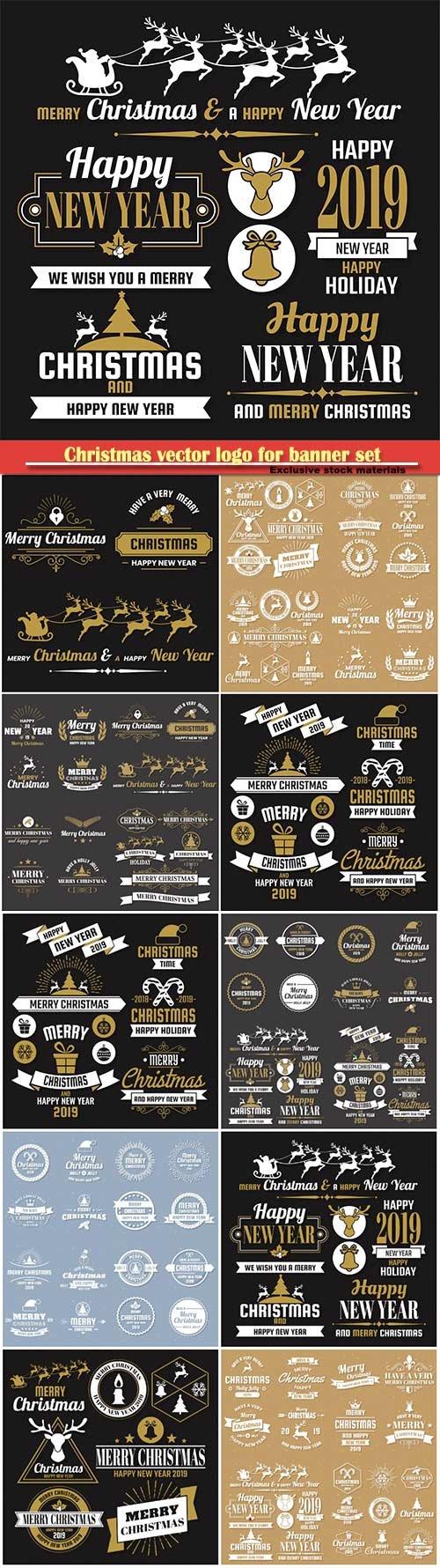 Christmas vector logo for banner set