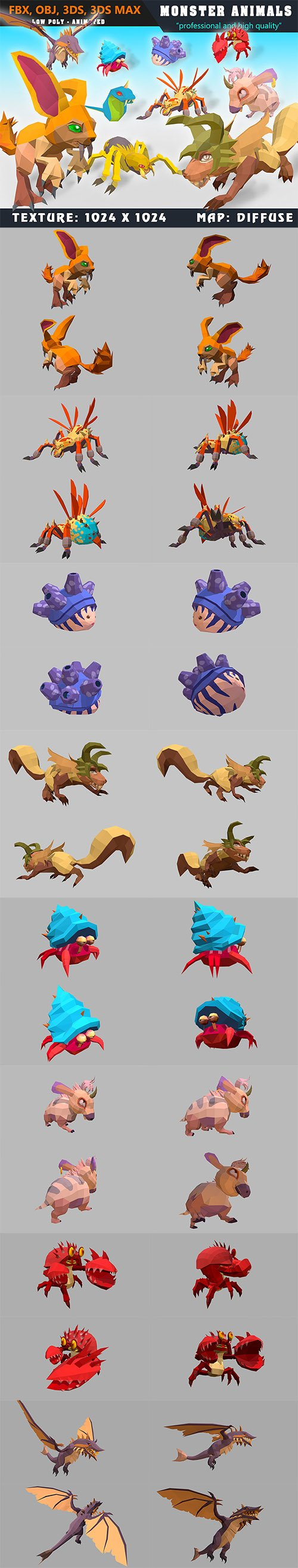 Cubebrush - Low Poly Monster Cartoon Collection 04 Animated