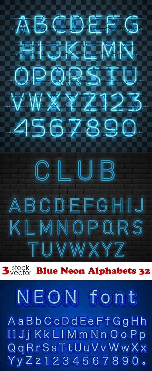 Vectors - Blue Neon Alphabets 32