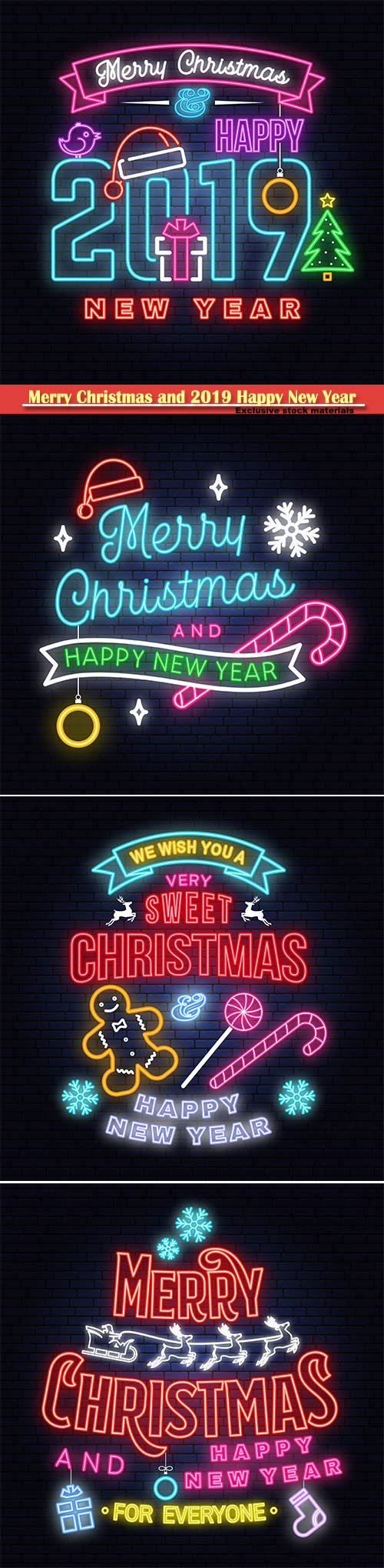 Merry Christmas and 2019 Happy New Year neon sign, emblem, bright signboard, light banner
