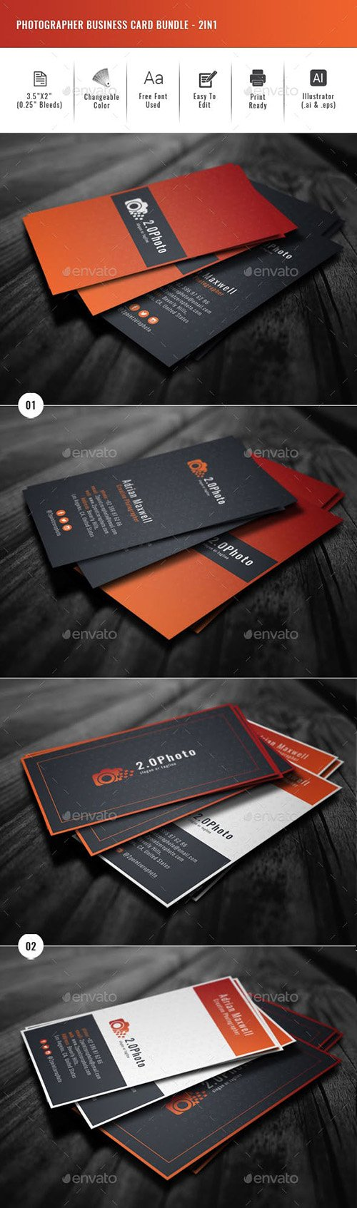GraphicRiver - Photographer Business Card Bundle - 2in1 22673982