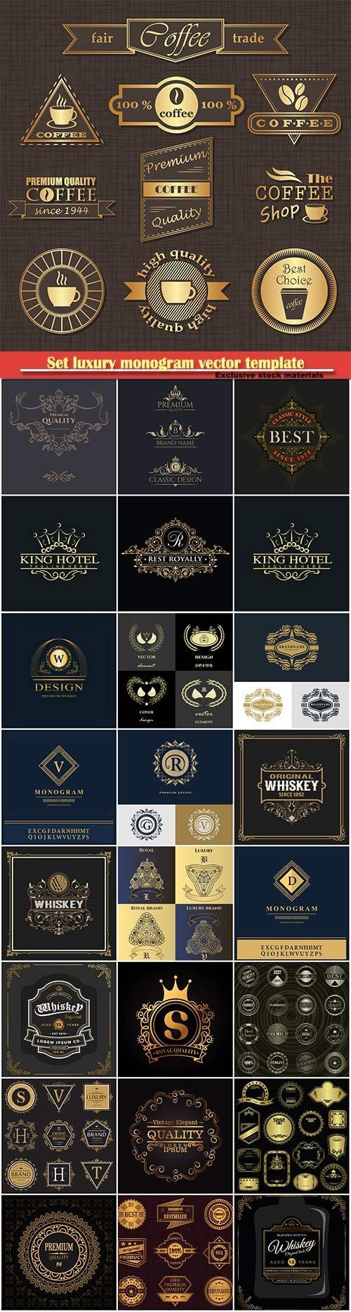 Set luxury monogram vector template, logos, badges, symbols # 7