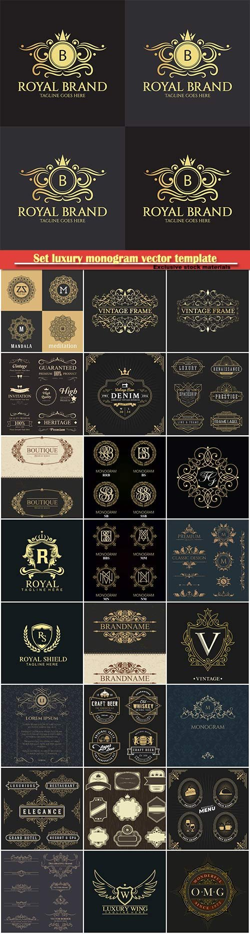 Set luxury monogram vector template, logos, badges, symbols # 8