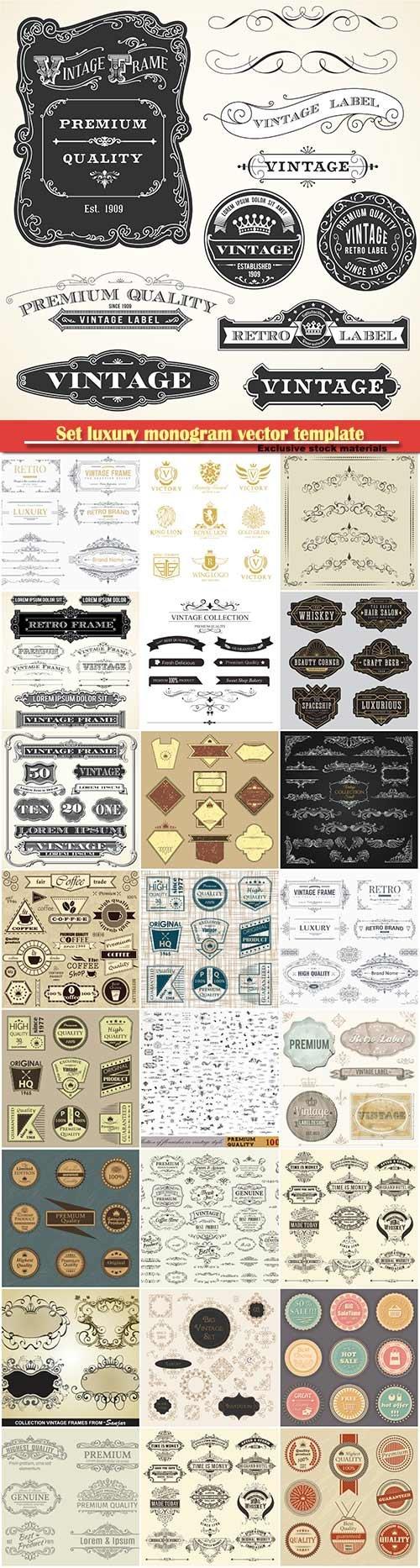 Set luxury monogram vector template, logos, badges, symbols # 10