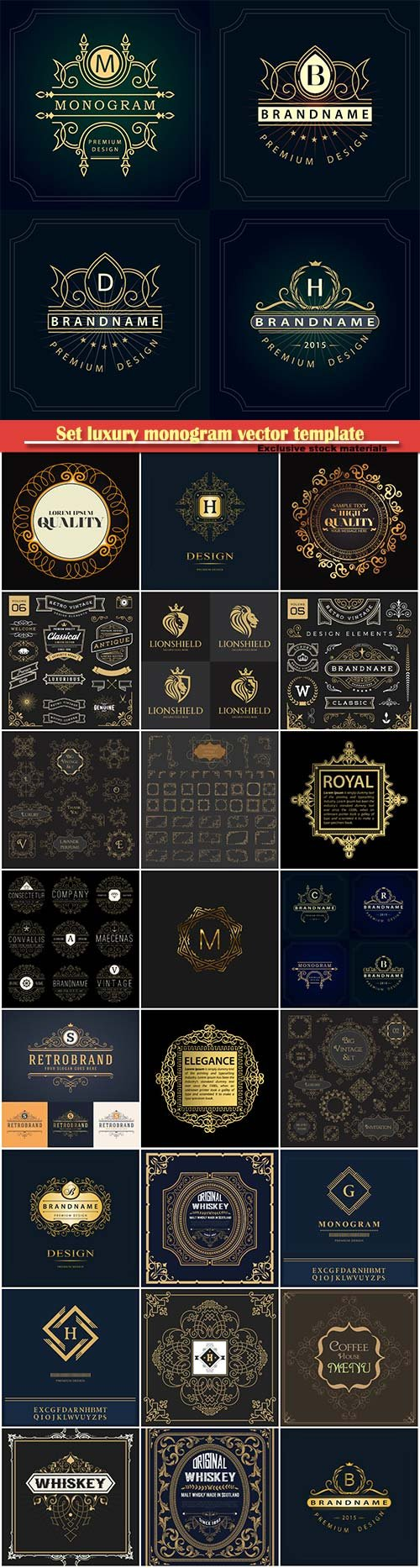 Set luxury monogram vector template, logos, badges, symbols # 12