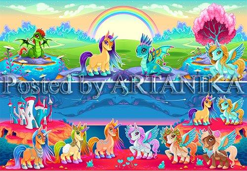 Unicorns and pegasus in a fantasy landscape
