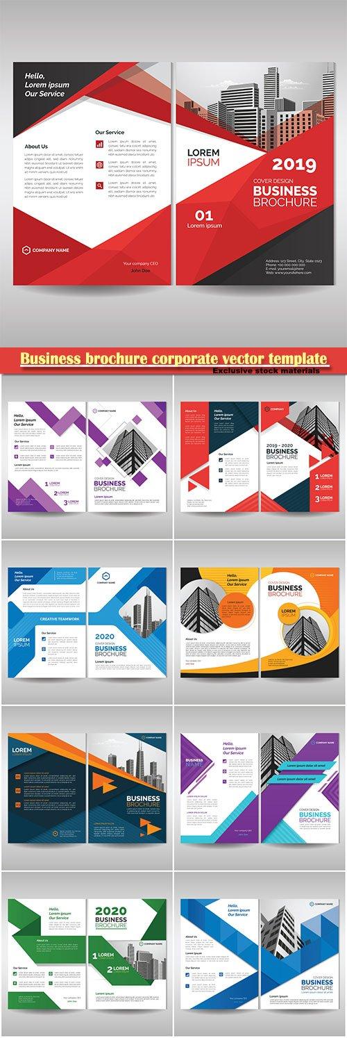 Business brochure corporate vector template, magazine flyer mockup # 43