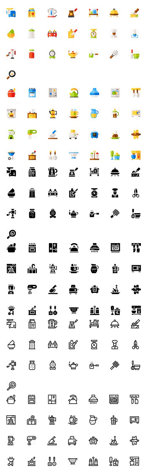 Kitchen Icon Pack 150 icons (Lineal, Flat, Filled)