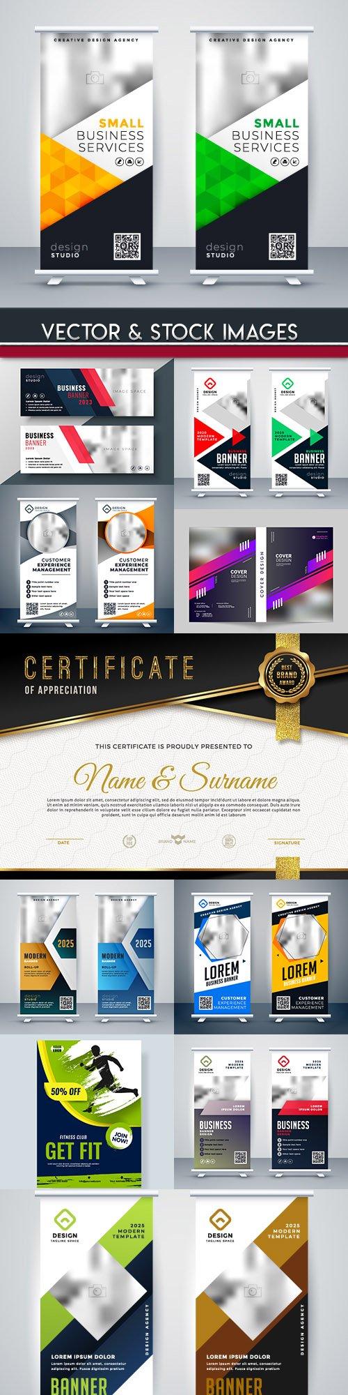 Modern brochures and flyer roll design template 3