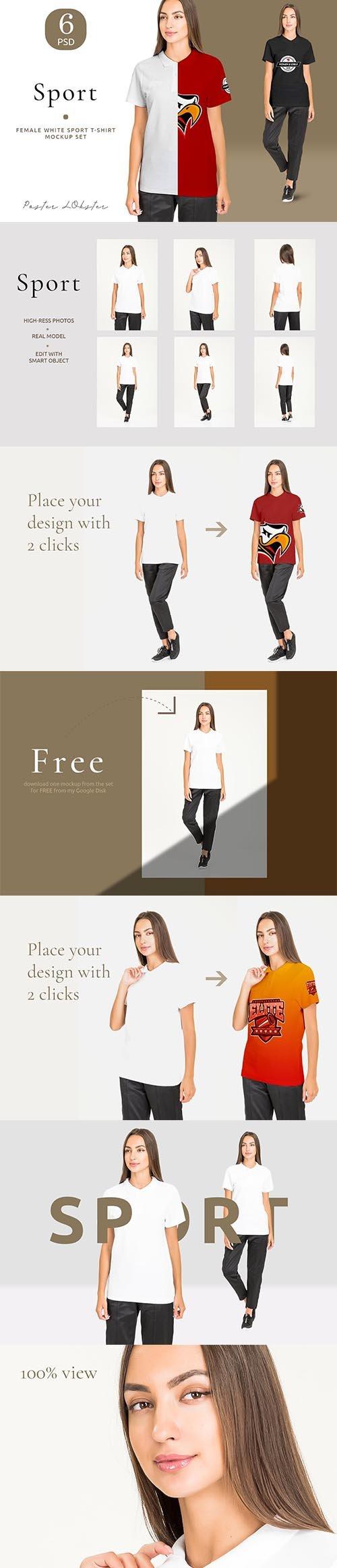 CreativeMarket - Women sport t-shirt mockup set 4158156