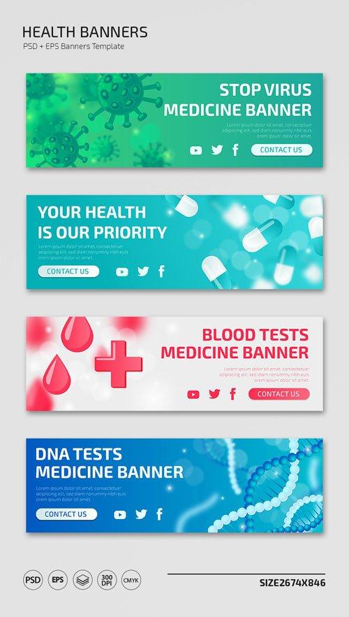 4 Health Banners [PSD/Ai/EPS] Templates