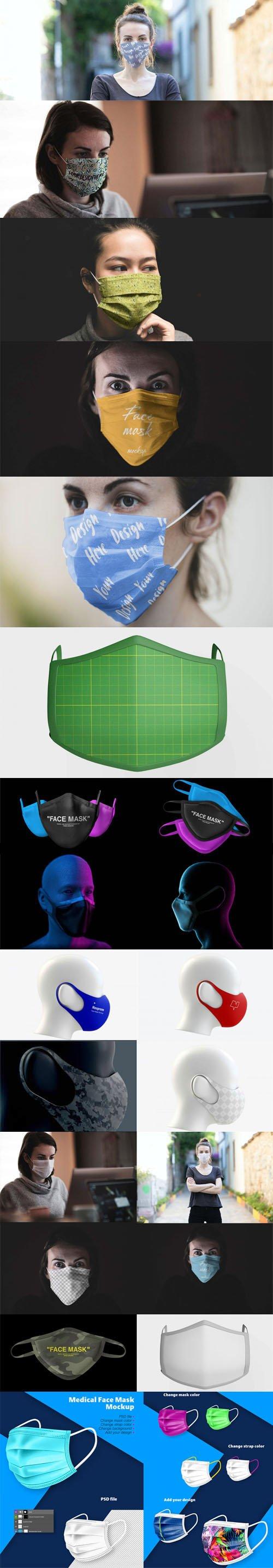 Medical Face Mask PSD Mockups Templates Collection
