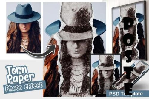 Torn Paper With Pencil Sketch Photo effect template