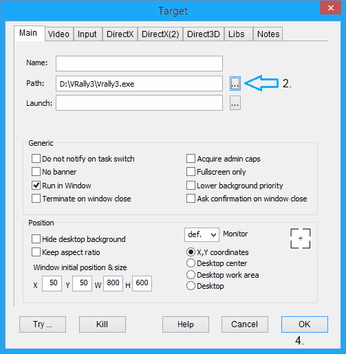 Window mode in games - Use DxWnd, step 2.
