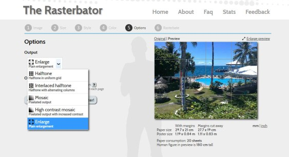 Print a poster at home using Rasterbator. Options page.