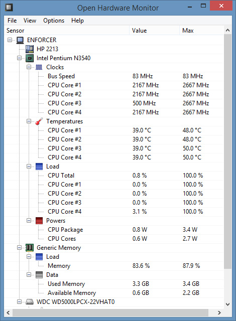 Games in window mode - monitoring temperatures.
