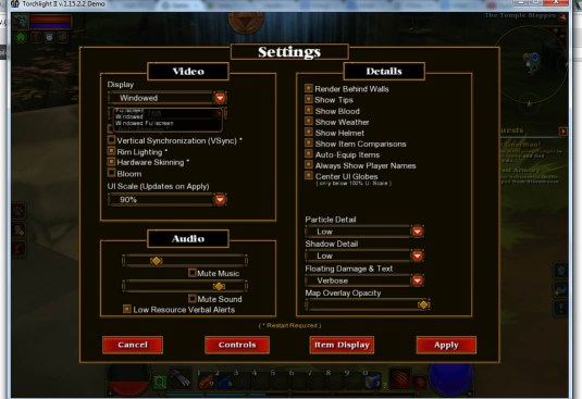 Games in window mode - Torchlight in window mode through settings.